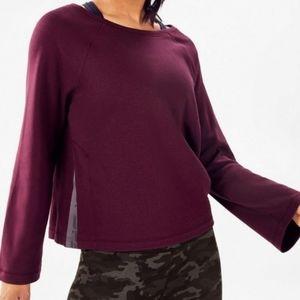 Fabletics Burgundy Isabel Split Side Pullover Sweatshirt XXL